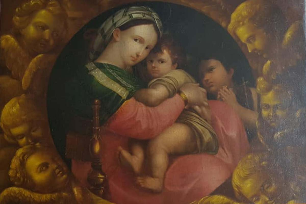 Dipinto olio Madonna con bambino