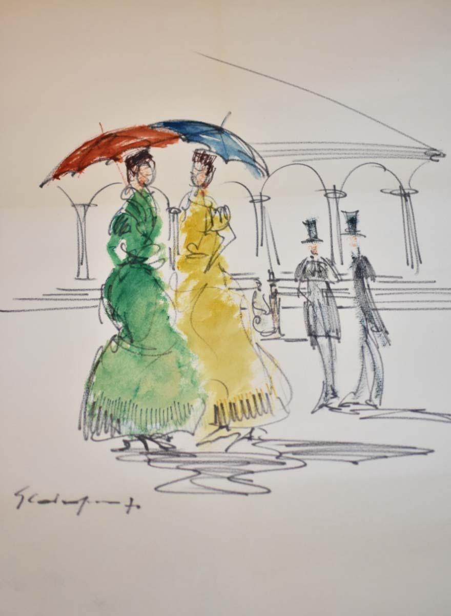 Donne con ombrello